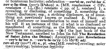 revelation in the dictionary