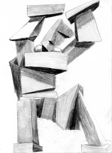 block man pencil sketch