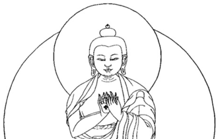 sketch of traditional depiction of buddha