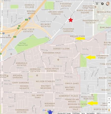 Google map of north Arcade neighborhoods