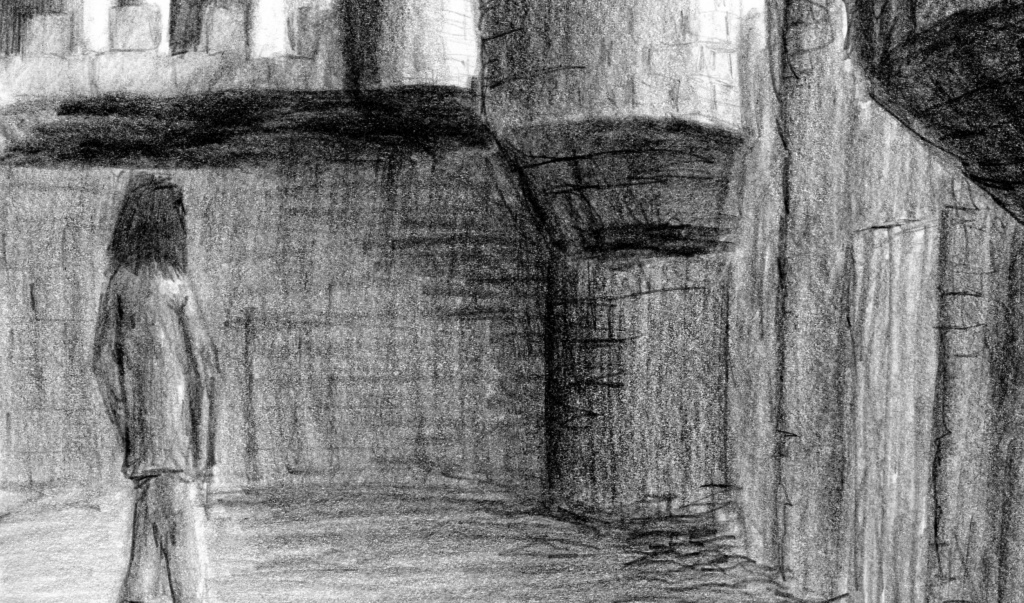"""my pencil drawing titled """"Castle Yard"""""""